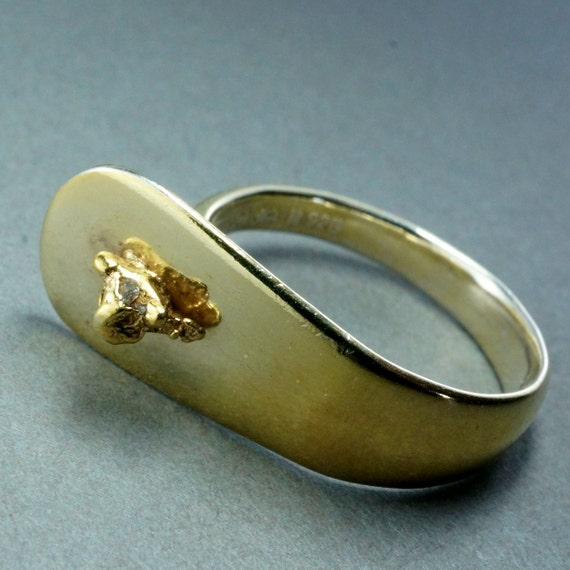 size 7 silver spoon ring sterling gold nugget by