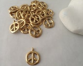 GOLD Peace Sign Charm, 2 Sided, Round, Pewter,Charm, Jewelry Supplies