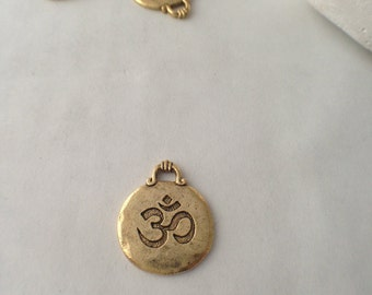 Gold, OM Charm, Yoga, Inspirational, Round, Pewter, Jewelry Supplies