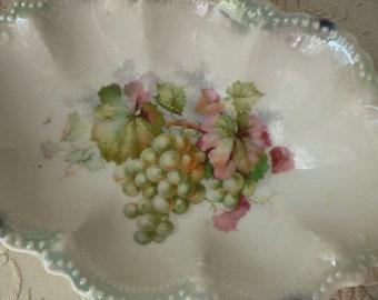 Leuchtenburg German Green Grape Motif Relish Dish Tray