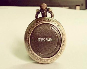 1pcs DIY Bronze pocket watch charms pendant  PW055 35mmx35mm