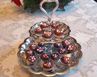 Vintage Chrome Metal 2 Tiered Tidbit Stand Cake Cupcake Dessert Stand | Mid Century Dining Serving |  Afternoon Tea Party