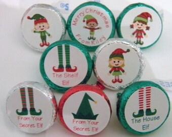 Christmas elf hershey kiss stickers elves kisses labels favors