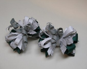 TWO Gray Forest Hunter Green White Pig Tail Toddler Girl Hair Bows School Uniform 2 piece set