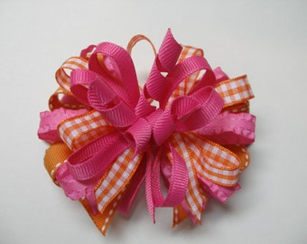 Hair Bow Orange Gingham and Hot Pink Korker Boutique Toddler Girl 4 inch layered bow
