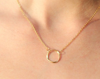 Twisted Gold Ring Eternity Necklace Gold Circle Pendant Everyday Necklace Gift - Karma