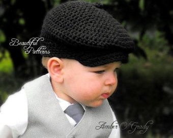 Crochet Hat PATTERN Baby Boy Newsboy Cap Cabby Beanie Hat Bow Tie Visor PDF Pattern 330 Newborn to 24 Month Photo Prop Instant Download