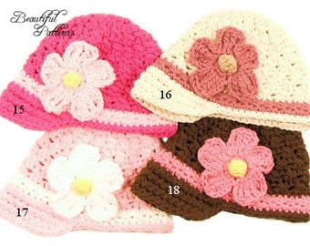 Crochet Hat Pattern Baby Daisy Visor Beanie Summer Hat PDF 150 Newborn to Adult  Photo Prop Instant Download