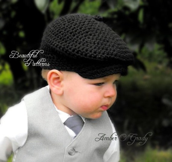 Crochet Hat PATTERN Baby Boy Newsboy Cap by BeautifulPatterns