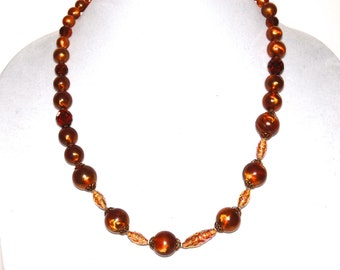 Vintage Brown Gold Beaded Necklace, Costume Jewelry