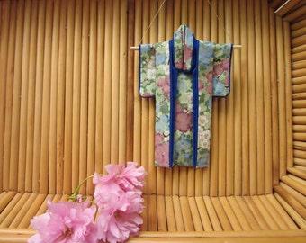 "5-inch ""Looking Skyward, Cobalt"" Kimono. Fabric Origami Kimono Ornament: Blue Pink Green. Plum Blossoms, Sky. Hang It or Frame It. Handmade."