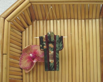"3"" Ornament. ""Forest Murmurs, Burgundy."" Fabric Origami Kimono Ornament: Handmade. Olive Bamboo Plum Blossom Hang it Frame it Give it."
