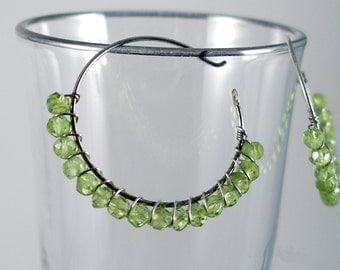 Delicate peridot hoop earrings by KarenWhalenDesigns