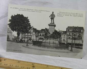WWI 1918 Soldier Souvenir  - Le Mans General Chanzy Statue Monument Vintage Postcard - Real Place