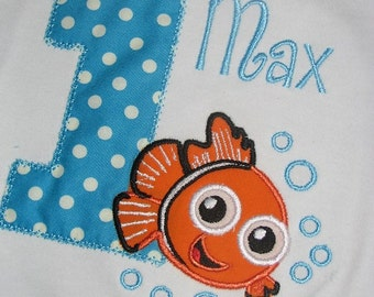 Finding Nemo Fish Birthday Shirt for Boys or Girls. Infant, Toddler, Under the sea, Sea Animal