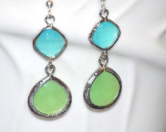 Icy blue and minty green colored glass gem earrings, Chalcedony earrings,  framed gem, drop earrings, silver earrings, gift