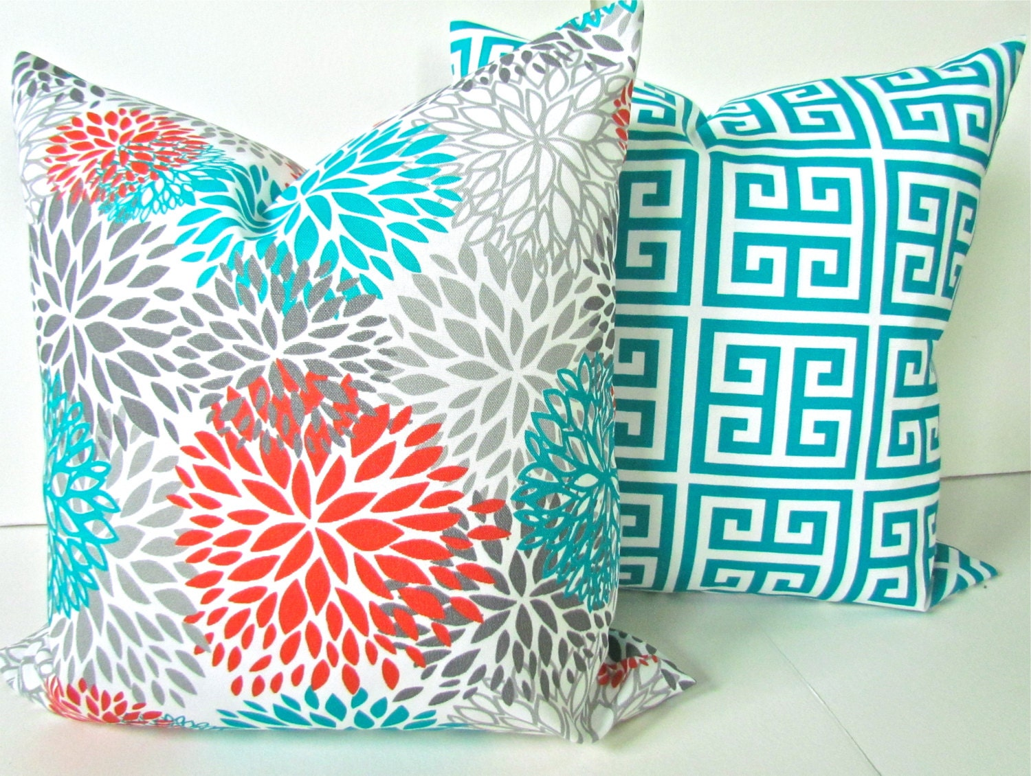 orange pillows set of 2 orange teal throw by sayitwithpillows. Black Bedroom Furniture Sets. Home Design Ideas