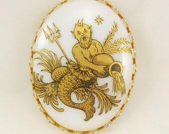 Vintage Neptune Brooch Poseidon Porcelain 24 KT Gold Paint mythical creature Pisces Us navy
