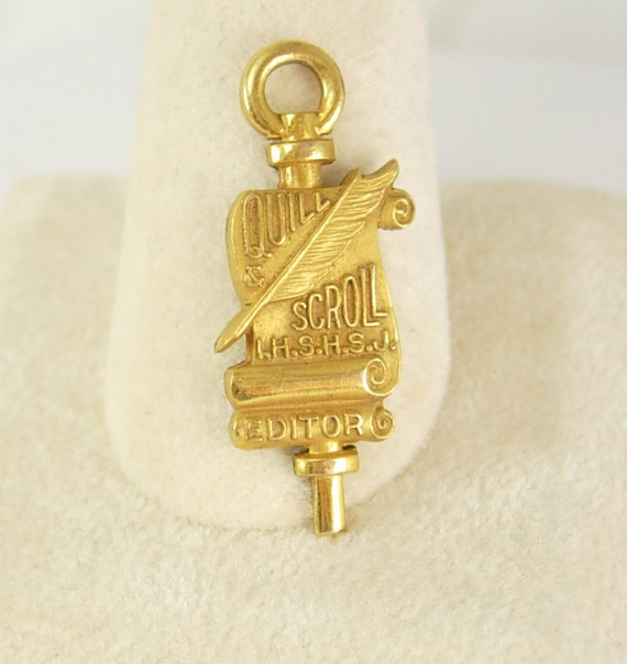 Vintage Gold Filled Quill Scroll Pendant key by