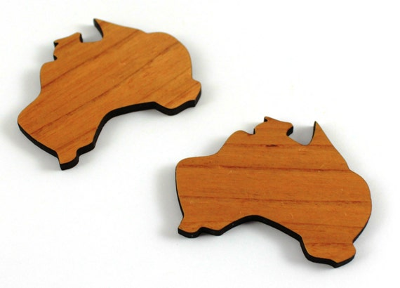 Laser Cut Supplies-1 Piece.Australia Charms -Cherry Wood Laser Cut Australia -Brooch Supplies- Little Laser Lab Sustainable Wood Products