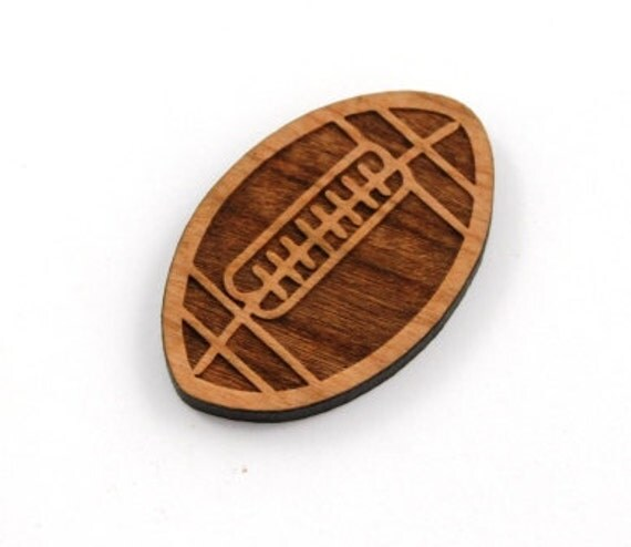Laser Cut Supplies-1 Piece.Football Charms - Cherry Wood Laser Cut Football -Brooch Supplies- Little Laser Lab Sustainable Wood Products