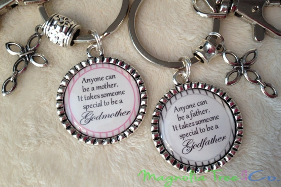 Godparent Keychain Gift For Godparents Gift For: GODMOTHER Or GODFATHER Personalized Gift For Godparents