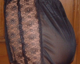vintage style black nylon tricot lace knickers panties rockabilly burlesque