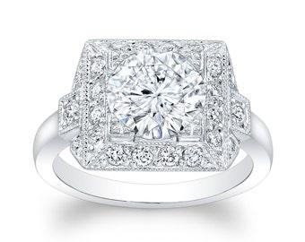 Ladies Platinum antique vintage engagement ring 0.33 ctw G-VS2 diamonds with 2ct (8mm) Round Brilliant White Sapphire Center