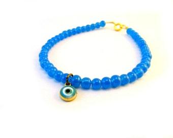 Neon Blue Bracelet, Evil Eye Bracelet, Blue Beaded Bracelet, Dainty Beaded Bracelet, Blue Bridal Jewelry, Something Blue,Gold Charm Bracelet