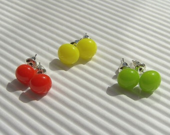 Stud Earrings - 3 pairs Post Earrings - Fused Glass Earrings - Traffic Light Mini Stud Earrings