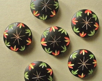 Wood buttons, vintage, a set of 6 carved & painted wood, floral, navy blue, red, yellow and green.. self shank.  c1930's.