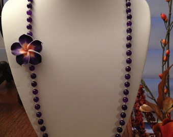 Purple and Silver Necklace with Flower Inset