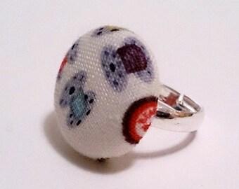 Bobbin Fabric Button Ring, Blue, Orange and Purple Bobbins Fabric Button Ring, Silver Ring