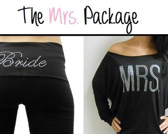 MRS off the shoulder and Bride Yoga Pants Package. Bride Pants. Bride MRS Off-Shoulder. Bride Sweatsuit. MRS Pants. Honeymoon. Bride Gift.