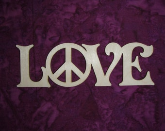 Love Peace Unfinished Wood Word Cut Out Connected Wooden Letters