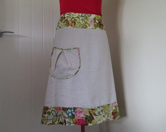 Womens Aline Skirt with Pocket and Floral Border.  XL.  SALE