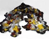 Felted Scarf Designer Wrap Nunofelt Scarves wild Felt Nunofelt Nuno felt Silk Silkyfelted Eco multicolor floral shawl Fiber Art