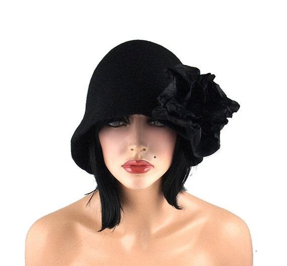 Cloche hat 1920s Hat Felt Hat Cloche Flapper Hat black hat art deco noir wearable art art deco wool felt nunofelt nuno felt silk