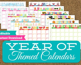 Monthly Themed Calendar Set- 12 Editable Printable Calendars- Yearly Planner