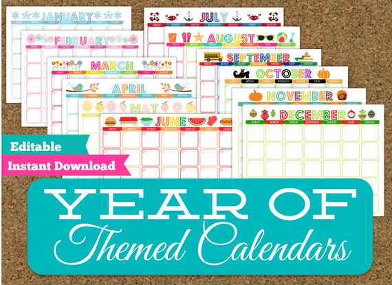 Monthly Themed Calendar Set 12 Editable Printable Calendars