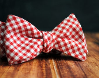 Men's Self-Tie Freestyle Pre-Tied Bow Tie - Red Gingham