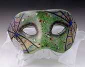 Spider web motif,  fused glass mask