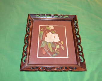 ON SALE Vintage Picture and Frame of White Flowers