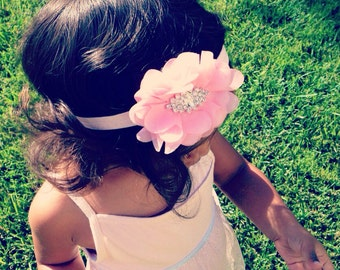 Adorable Pink Fabric Flower Headband, Baby Girl Headband, Newborn Girl Headband, Infant Headband, Women Headband, Flower Girl Headband