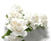 Ivory White Rose Hair Comb Floral Head Clip