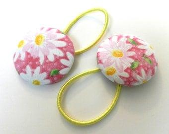 Girls hair bow Button Ponytail holder / Hair Ties Set of 2 VSB6359