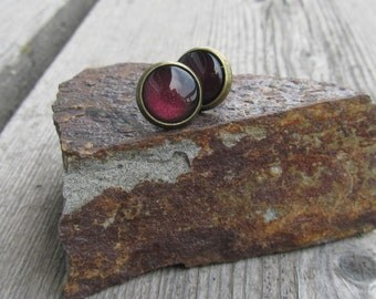 Burgundy post earrings wine maroon glass cab earrings gift ideas for her under 10