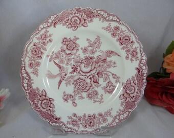 "Vintage 1930s Crown Ducal English Bone China ""Bristol""  Pink Dinner Plate"
