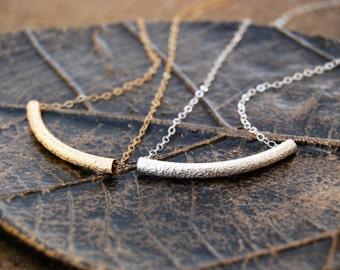 sanskrit... gold or silver scroll bar necklace / 14k gold filled or sterling silver floral vine scroll tube bar necklace / minimalist