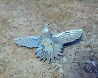 Beautiful pewter Shields stamped Hummingbird in flight
